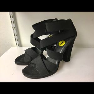 Stuart Weitzman black stretchy strap sandals size7